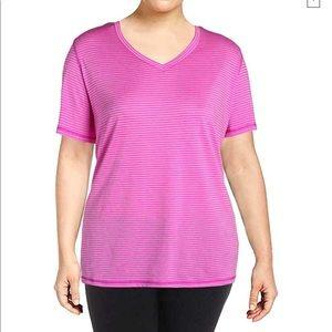 Ideology plus V neck striped activewear top sz 2X